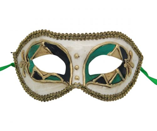 Black, Green and Gold Venetian Mask