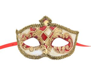 Gold and Red High Point Venetian Mask