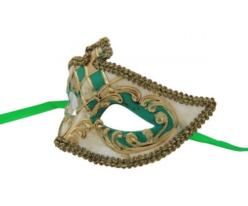 Gold and Green High Point Venetian Mask