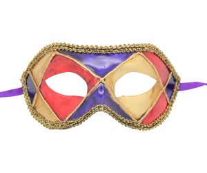 Purple Harlequin Venetian Mask