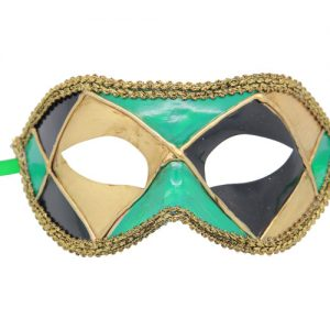 Green Harlequin Venetian Mask