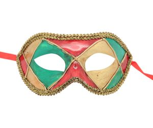 Red Harlequin Venetian Mask