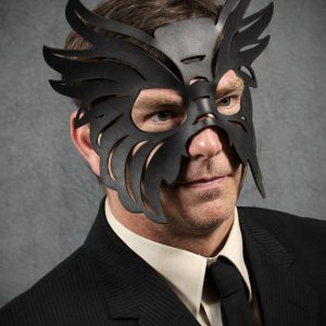 Men's Black Authentic Leather Bull Mask