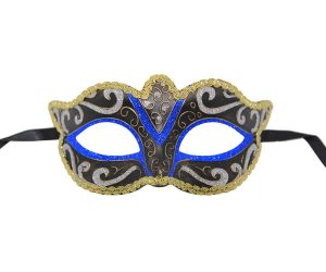 Classic Black Venetian Mask with Blue, Gold and Silver