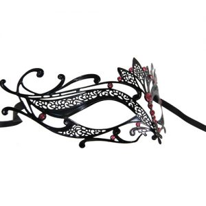 Metal Filigree Lotus Masquerade Mask with Pink Crystals