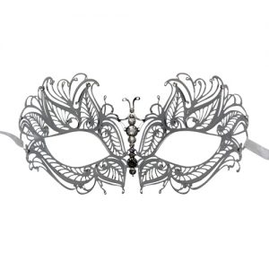 Silver Metal Butterfly Filigree Masquerade Mask with Crystals