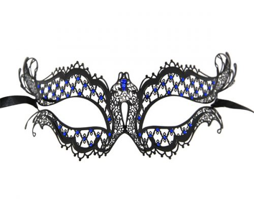 Metal Filigree Butterfly Masquerade Mask with Blue Crystals