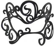 Black Authentic Leather Filigree Swirl Mask for Glasses