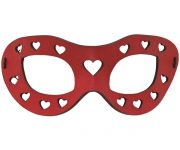 Red Hearts Leather Eye Mask