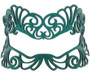 Teal Green Authentic Leather Filigree Mask for Glasses