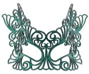 Eve Authentic Leather Filigree Mask in Teal Green