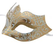 White and Gold Masquerade Mask with Glitter