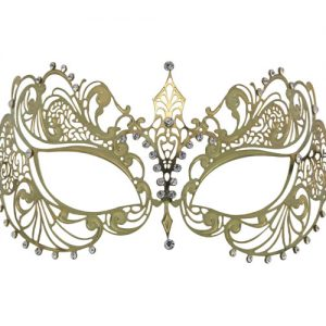 Gold Metal Filigree Masquerade Mask with Tear Drop Crystals