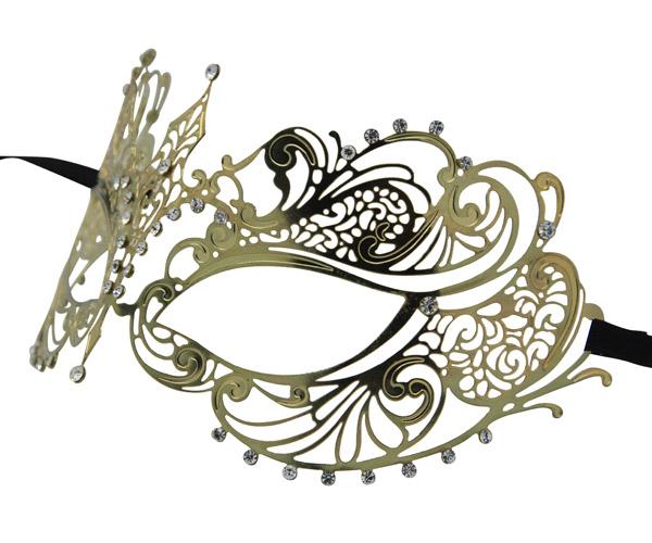 Gold Metal Filigree Masquerade Mask with Tear Drop Crystals