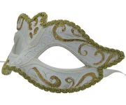 Classic White Venetian Mask with Gold Highlights