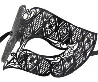 Metal Filigree Wide Mens Masquerade Mask