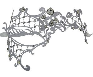 White Metal Filigree Phantom Masquerade Mask