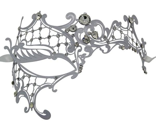White Metal Filigree Phantom Masquerade Mask