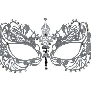 Silver Metal Filigree Masquerade Mask with Crystals