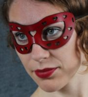 Red Hearts Leather Mask