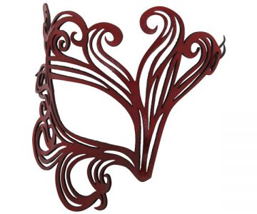 Authentic Leather Red Swirl Mask