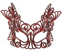 Red Baroque Large Authentic Leather Mask