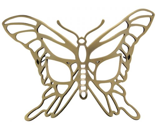 Gold Butterfly Authentic Leather Filigree Mask