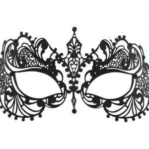 Metal Filigree Masquerade Mask with Green Tear Drop Crystals