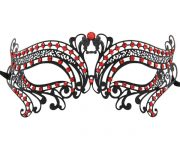 Metal cleopatra Masquerade Mask with Red Crystals