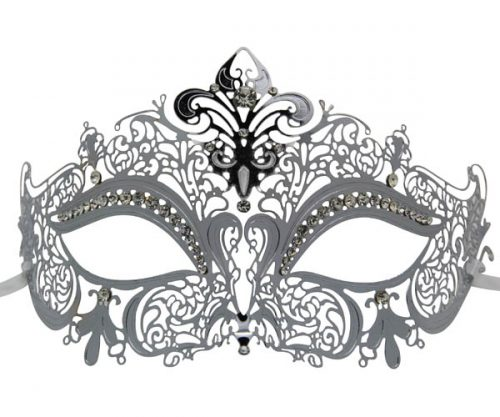 Silver Metal Filigree Masquerade Mask with Heart
