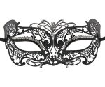 Metal Kitten Masquerade Mask with Clear Crystals