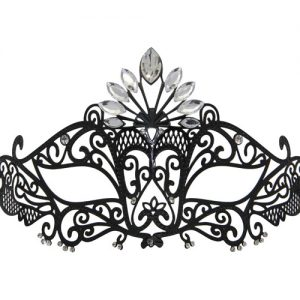 Metal Sheba Masquerade Mask with Clear Crystals