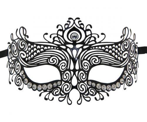 Metal Mystical Masquerade Mask with Clear Crystals