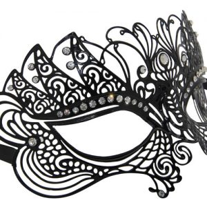 Metal Mythical Masquerade Mask with Clear Crystals