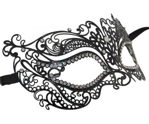 Metal Enchanted Masquerade Mask with Clear Crystals