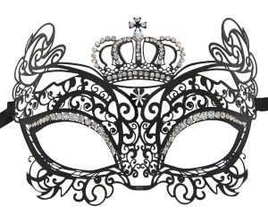 Metal Baroque Cat Masquerade Mask with Clear Crystals