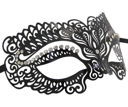 Metal Luxury Masquerade Mask with Clear Crystals