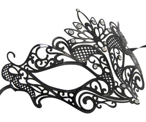 Metal Loop Masquerade Mask with Clear Crystals