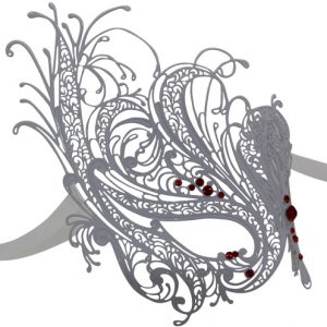 White Swan Metal Masquerade Mask with Red Crystals