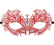 Red Metal Butterfly Filigree Masquerade Mask