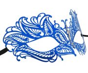 Blue Metal Butterfly Filigree Masquerade Mask