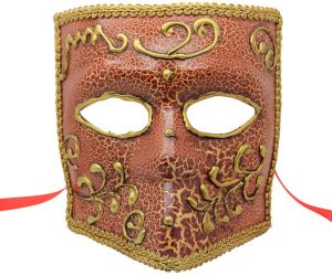 Pink and Gold Venetian Mask