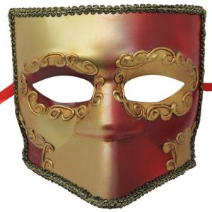 Red and Gold Venetian Mask