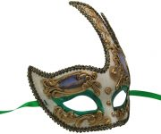 White Venetian Mask with Gold and Green