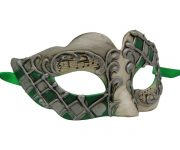 Silver with Green Venetian Mask