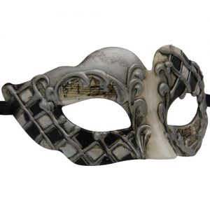Silver Venetian Mask with Grey and Black Details