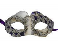 Silver Venetian Mask with Blue Accent