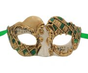 White Venetian Mask with Gold and Green Accent