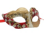 Gold Venetian Mask with Red and White Checkered Accent