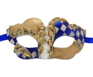 Gold Venetian Mask with Blue and White Checkered Accent